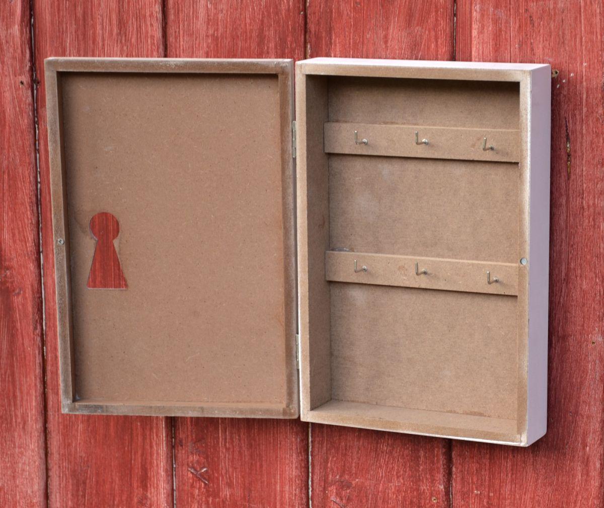 schl sselkasten schl sselschrank holz mit 6 haken natur home schild more online. Black Bedroom Furniture Sets. Home Design Ideas