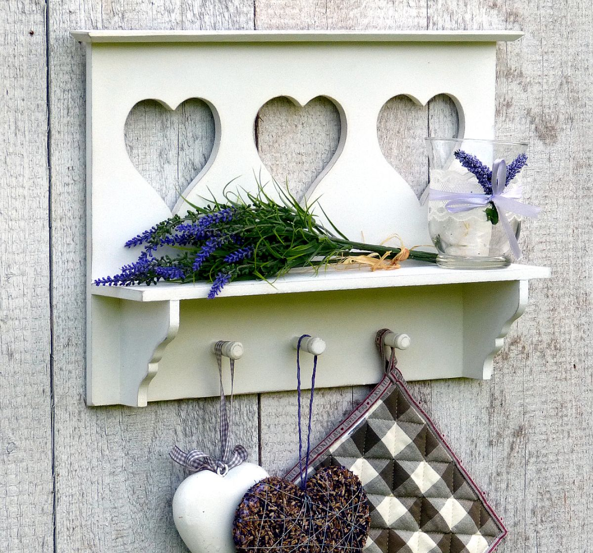 Küchenregal Wandregal Regal für Küche mit Ablage und 3 Haken - Weiß ...