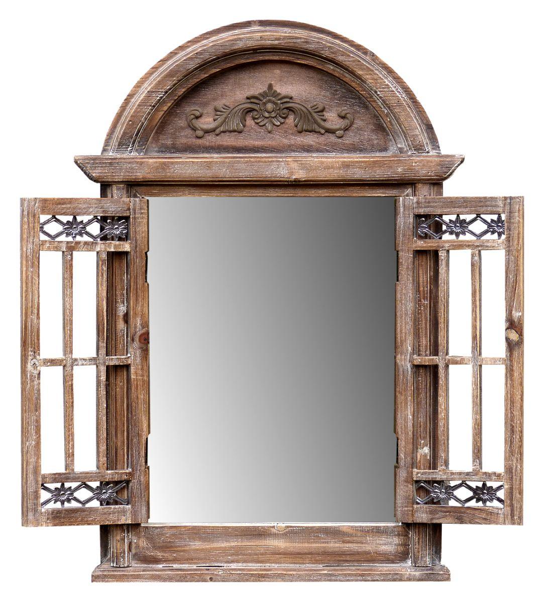 wandspiegel spiegel spiegelfenster rundbogen mit fensterl den landhaus holz braun more decor. Black Bedroom Furniture Sets. Home Design Ideas