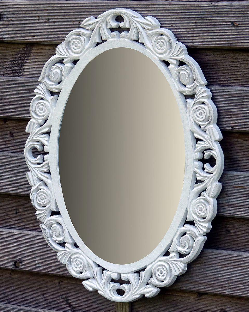 B-Ware Wandspiegel Spiegel Badspiegel Holz Oval Landhaus Vintage ...